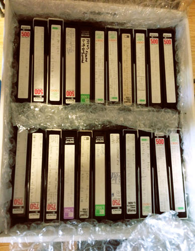 <p>One box of many that holds Stokes's tapes.</p>