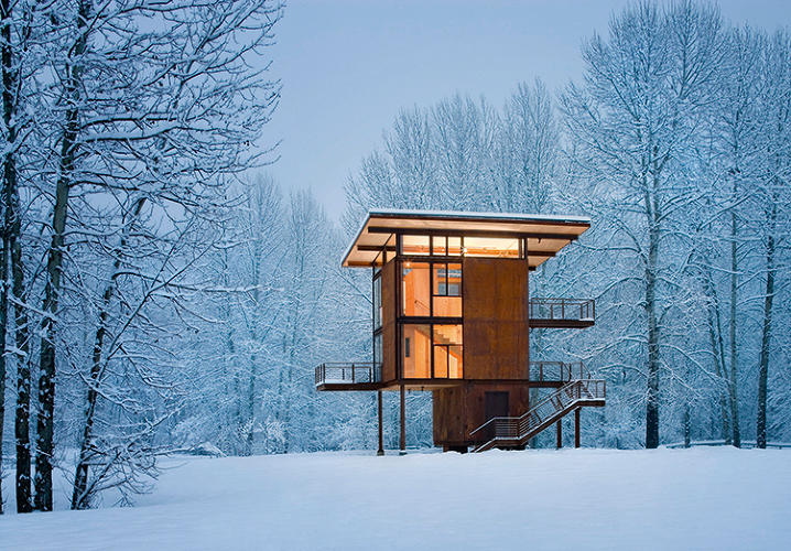 "<p>Because its site floods seasonally, the 305-square-foot Delta Shelter had to be raised up on stilts, giving it an exotic look and impressive views from the upper windows. &quot;When it is closed up, the cabin stands like a sentry in the aspen forest,"" architect Olson Kundig says.</p>"
