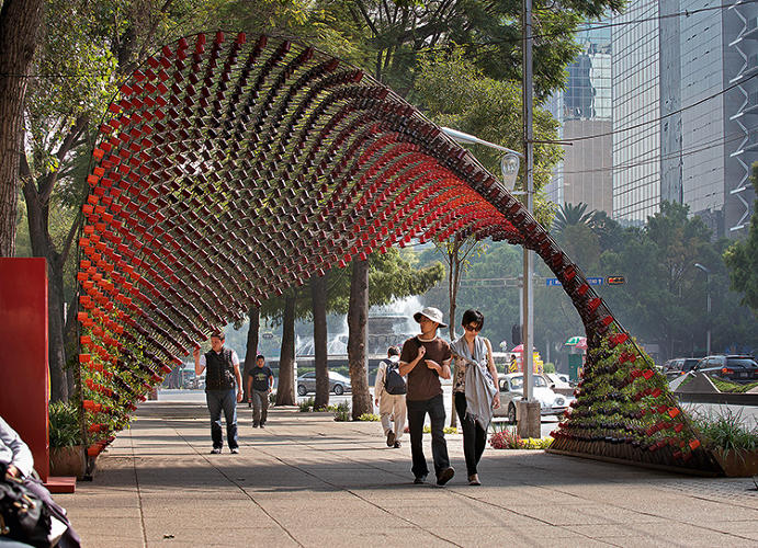 <p>It might sound like a Harry Potter fan fiction invention, but the Portal of Awareness is actually an installation made of 1,500 metal coffee mugs. Architect Michael Rojkind collaborated with seven artists to create a structure of rebar woven in a pattern that created 1,497 nodes from which the mugs could hang.</p>