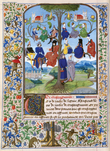 <p>Loyset Liedet<br /> Tree of Consanguinity<br /> 1471<br /> Bibliotheque Nationale de France</p>