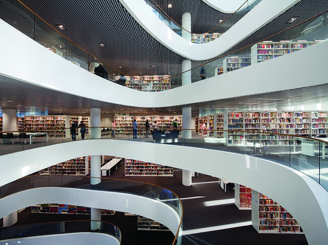 <p>In these photos, spines of shelved books appear like ornate mosaics; labyrinthine stacks seem like architectural gestures. The Sir Duncan Rice Library was designed by Schmidt Hammer Lassen Architects, 2012.</p>