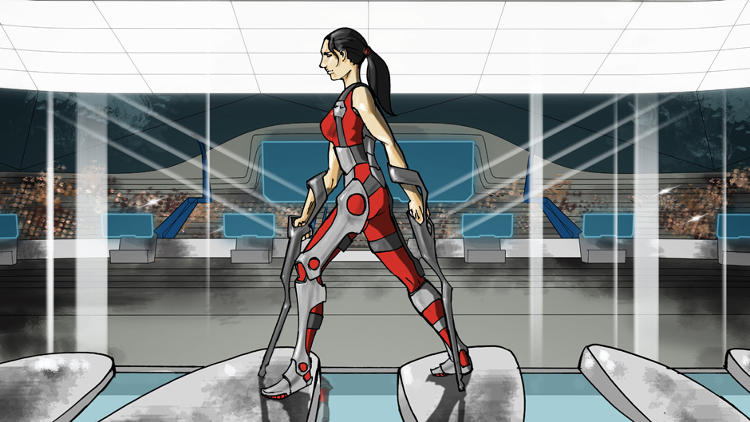<p>In the powered exoskeleton race, competitors will have to step on pillars of different heights, pick up a weight and walk with it, and sprint to the finish line.</p>