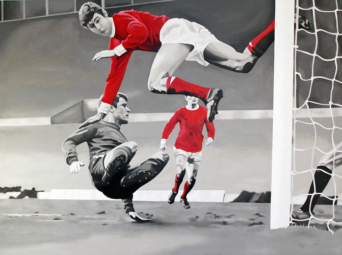 <p>Acrylic on canvas<br /> Action painting captures the thrill of the score. <br /> Chris Beas</p>