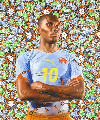 <p>Oil on canvas, 72 x 60 in.<br /> Portrait of Cameroon-born footballer Samuel Eto'o, star of England's Chelsea team.<br /> Kehinde Wiley</p>