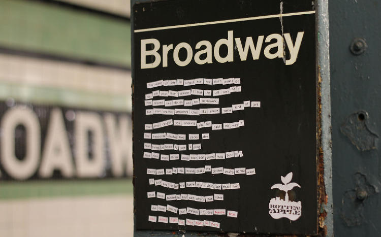 <p>An old magnetic poetry kit was added to a subway sign (here, spelling out the lyrics to &quot;You've Got to Fight for Your Right to Party&quot;).</p>