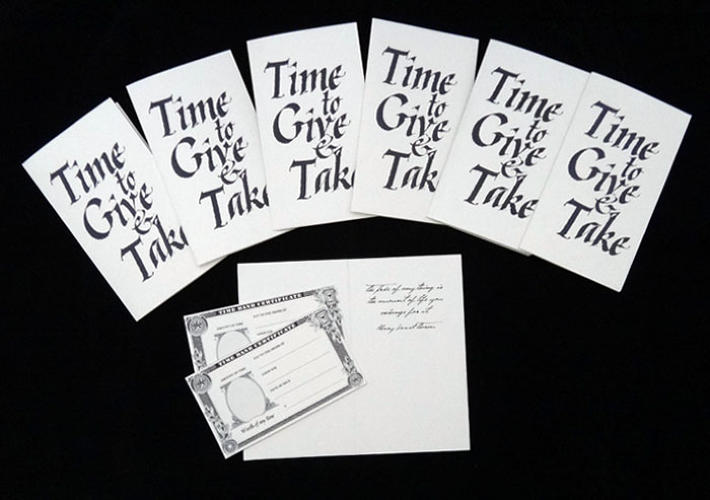 <p>The artist made Christmas cards that promoted giving time rather than<br /> physical gifts, and left them around the city.</p>