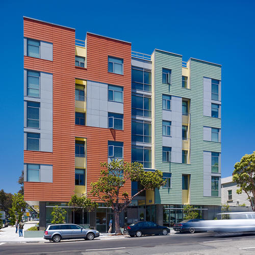 <p>A high-density, affordable apartment building for seniors provides plenty of communal spaces to prevent isolation of its residents. Situated next to a freeway in downtown Oakland, the building's south facade is layered to provide protection from sun and sound.</p>