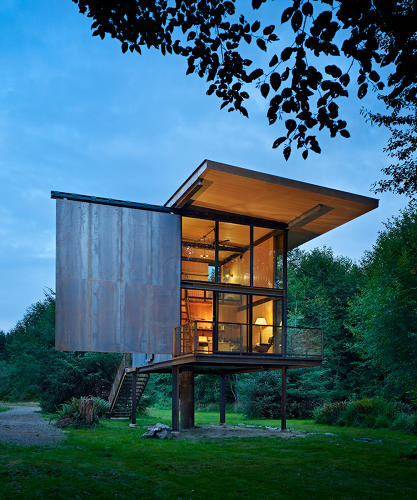 <p>A client with a penchant for fly fishing wanted a low-maintenance, compact and virtually indestructible cabin. Most of the 350-square-foot cabin was made from pre-fabricated materials, reducing waste on-site. The stilts protect the structure from occasional floods.</p>