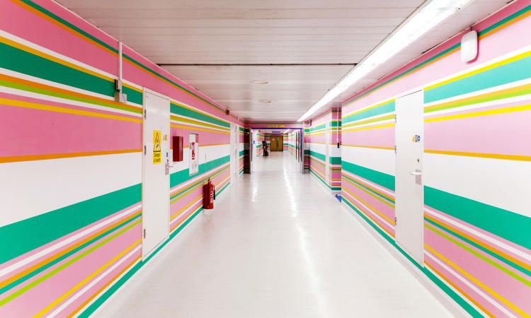 <p>A hospital recently got a candy-colored makeover from Bridget Riley, the English painter at the forefront of the Op art movement.</p>