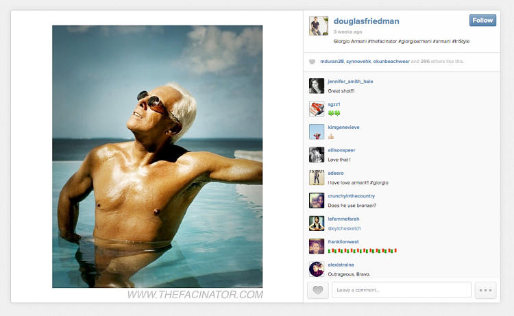 <p>A picture of Giorgio Armani taken by Douglas Friedman, a fashion photographer who credits his Instagram feed with landing him a major advertising campaign.</p>