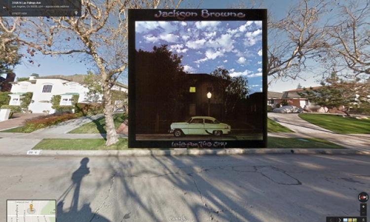 <p><em>Late for the Sky </em>by Jackson Browne features a doctored image of a classy Hancock Park house in Los Angeles, 1974. The house was spliced with a psychedelic sky.</p>