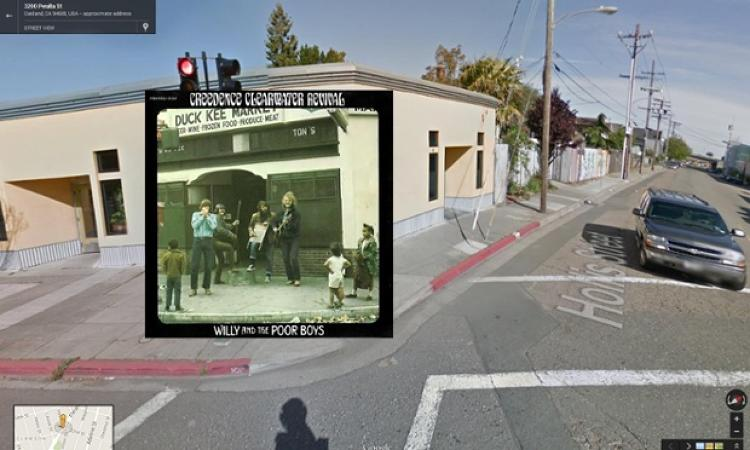 <p>Creedence Clearwater Revival busk outside the Duck Kee Market on Oakland's Hollis Street on the cover of <em>Willy and the Poor Boys</em>, 1969. Google Street View reveals the shop has been plastered over.</p>