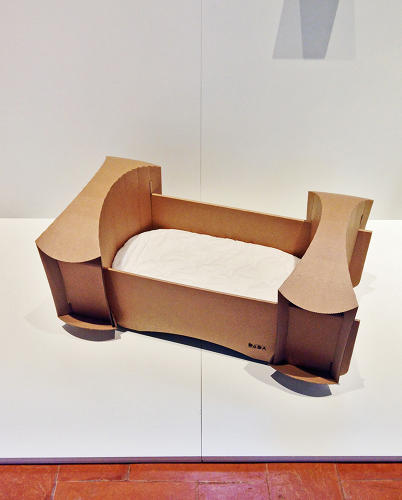 <p>The Dada cardboard cradle, by Ulrike Leitner, also at the Austrian Confession of Design exhibit.</p>