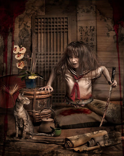 <p>&quot;The Japanese legend of Teke Teke is a disturbing ghost story about a young school girl cut in half by a train after being bullied by mean spirited classmates,&quot; according to Ransom and Mitchell. &quot;Teke Teke endlessly roams the streets in search for others to cut in half as punishment for her misfortune. She uses both her sweet charm and disturbing appearance to woo and paralyze her victims who are fated to themselves become Teke Teke. She walks on her hands and drags along with her a sword. Her staccato movements sound like 'teke teke teke' on the ground and if one hears this behind them late at night, it is surely too late.&quot;</p>