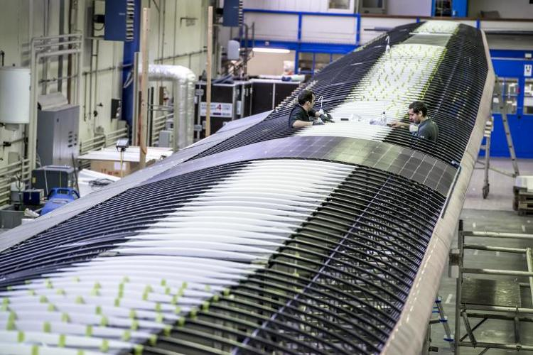 <p>In theory, the carbon-fiber plane will be able to fly indefinitely, fueled by thin solar panels that cover its 236-foot long wings.</p>