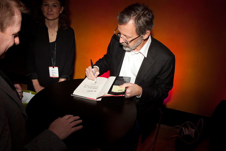 <p>Following his session, <a href=&quot;http://www.fastcompany.com/3027135/inside-the-pixar-braintrust&quot; target=&quot;_self&quot;>Pixar President Ed Catmull</a> signed copies of his forthcoming book <em>Creativity, Inc. </em></p>
