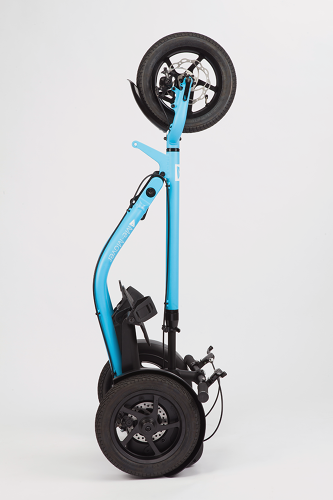 <p>Unlike a standard bike, it can fold down to about 18 by 13 inches, and can roll inside shops or on public transit without getting in the way.</p>