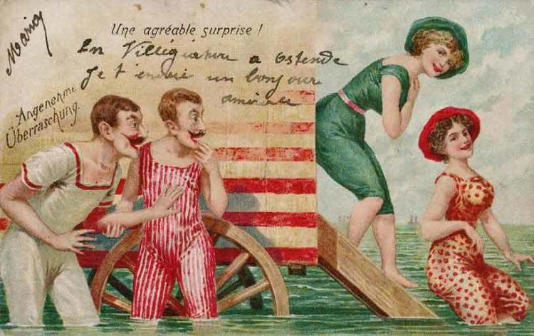 <p>Glimpsing more than a sliver of a woman's ankle in these times was liable to give onlookers the vapors, so much so that in Georgian and Victorian times, there were entire fleets of bathing machines that were specifically designed to prevent anyone from seeing a woman in her swimsuit before she slipped beneath the waves.</p>