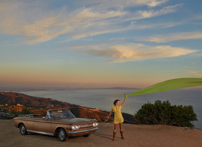<p>Emily Caldwell with her 1963 Chevy Corvair. Malibu, California.</p>