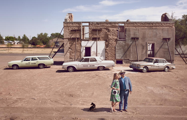 <p>Adam and Krista Bork with their '67 Pontiac Tempest Wagon, '63 Plymouth Belvedere, and '62 Plymouth Valiant. Marfa, Texas.</p>