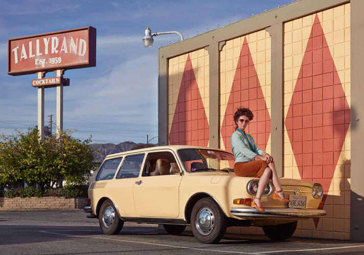 <p>In these cinematic, slightly campy, images, Californians pose in eternal sunshine with their wheels of glory. Nicole Dreyfuss and her 1971 411 Squareback, Burbank, California.</p>