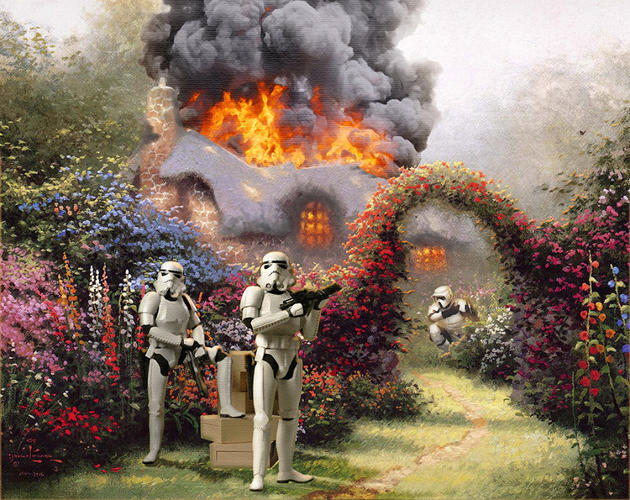 <p>Artist Jeff Bennett unleashed the full force of the Dark Side on Thomas Kinkade, the 20th-century American artist who described himself as the &quot;Painter of Light.&quot;</p>