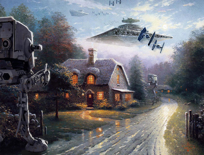 "<p>In Bennett's ""<a href=&quot;http://www.fastcodesign.com/3020989/star-wars-imperial-forces-invade-thomas-kinkades-precious-paintings&quot; target=&quot;_self&quot;>Wars on Kinkade"" series,</a> he inserts <em>Star Wars</em> characters into Kinkade's treacly, bucolic world.</p>"
