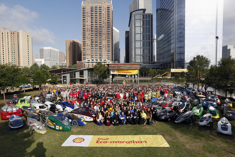 <p>Students pose for an image before opening ceremonies during Shell Eco-marathon Americas 2014, Friday, April 25, 2014, at the George R. Brown Convention Center in Houston.</p>
