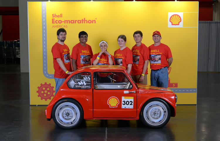<p>The 59 Fiat 211SC, UrbanConcept, running on diesel, competing for team Super Chargers II from Clear Springs High School, Texas, United States, during day three of the Shell Eco-marathon Americas 2014, Saturday, April 26, 2014, at the George R. Brown Convention Center in Houston.</p>