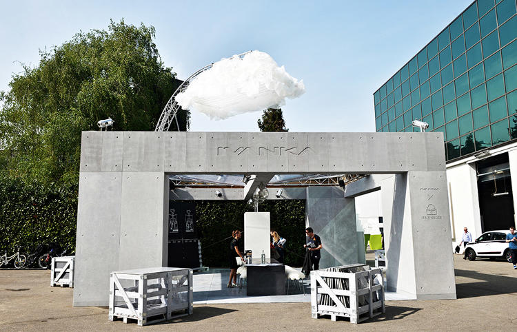 <p>A demonstration building was on display during Milan Design Week last month, complete with a fake cloud overhead to show it in action.</p>