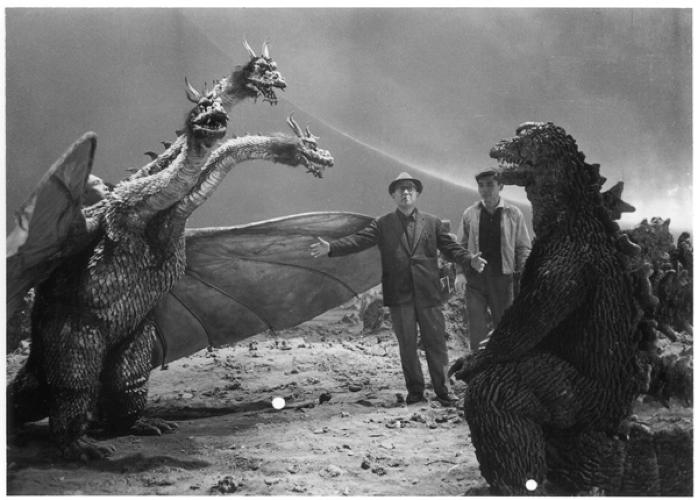 <p>In 1964's <em>The Greatest Battle on Earth</em>, Eiji Tsuburaya checks out Godzilla and the bat-winged King Ghidorah dragon, inspired by a mythical eight-headed serpent.</p>