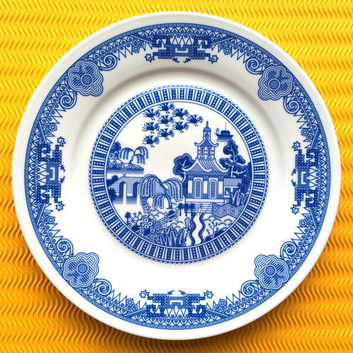 <p>Moyer's project was born after he inherited a traditional blue-willow pattern plate from his great grandparents. For laughs, he copied the design on paper and added a dinosaur. From there, other calamities ended up striking the unmoving denizens of his great grandmother's dinner plate: UFOs, sea monsters, and volcanoes.</p>