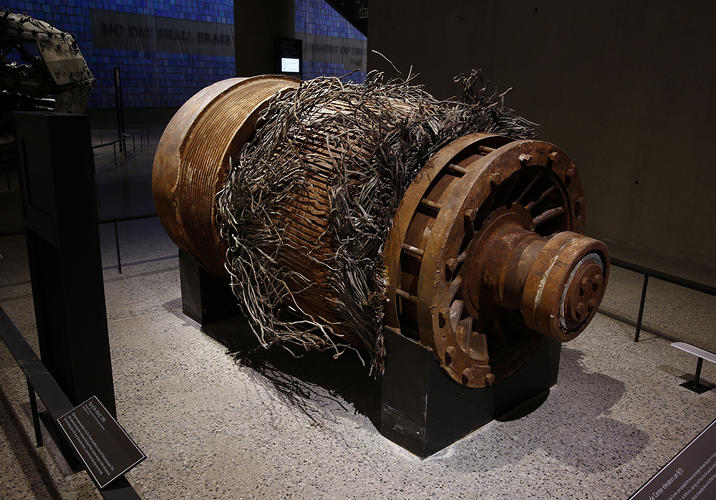 <p>ELEVATOR MOTOR<br /> An elevator motor from the North Tower, deemed useless when hijacked Flight 11 severed its cables.</p>