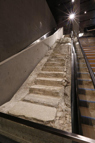 <p>VESEY STREET STAIR REMNANT: THE SURVIVORS' STAIRS<br /> The Vesey Street stairs--also known as Survivors' Stairs--connected the  the World Trade Center Plaza to the Vesey Street sidewalk. They provided a means of escape for hundreds of people.</p>
