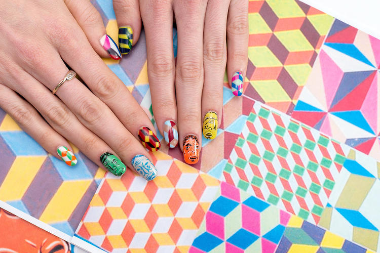 <p>Artist Barry McGee, known for work inflected by urban culture, inspired this manicure.</p>