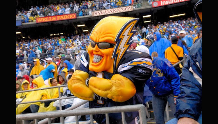 <p>Boltman, the unofficial San Diego Chargers mascot, was retooled in 2013 to be more like...Jim Carrey in <em>The Mask</em>, I think.</p>
