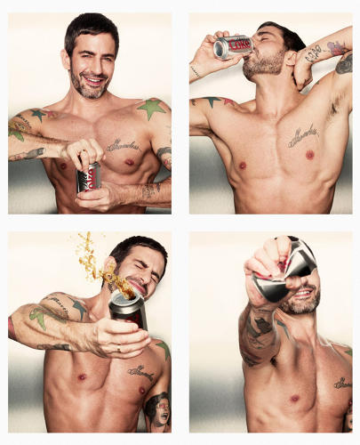 <p>How did it become fashionable to turn yourself into a walking advertisement for Coca-Cola?  Here, <a href=&quot;http://trendland.com/marc-jacobs-named-creative-director-of-coca-cola-light/&quot; target=&quot;_blank&quot;>Marc Jacobs,</a> named creative director of Coca Cola Light in 2013. He spruced up their can designs with stylish illustrations.</p>