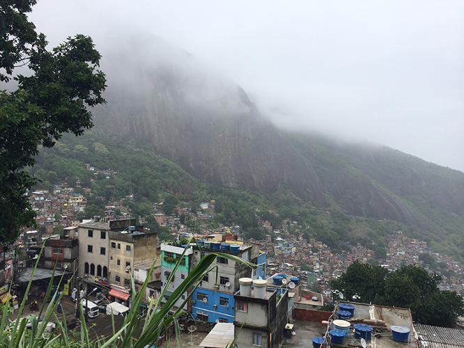 <p>Rocinha, an especially large favela, is like a separate city inside Rio: It has shops, restaurants, bars, a giant gymnasium complex, medical services, and even its own Internet provider.</p>