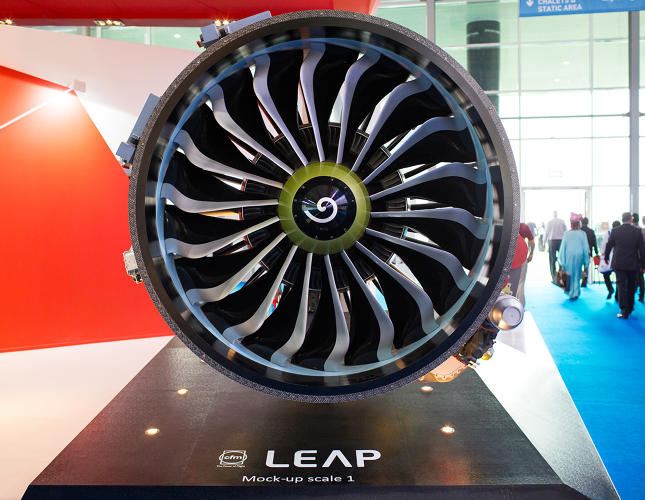<p>The next-generation of CFM engines (called LEAP) powering the 737 MAX and A320neo will incorporate advanced materials like carbon fiber composite fan blades in the front fan (pictured), ultra-durable additive manufactured fuel nozzles in the combustor, heat-resistant CMCs in the high-pressure turbine, and light-weight titanium aluminide low-pressure turbine blades. Combined, these technologies will improve fuel burn by 15% compared to today's most advanced CFM engine.</p>