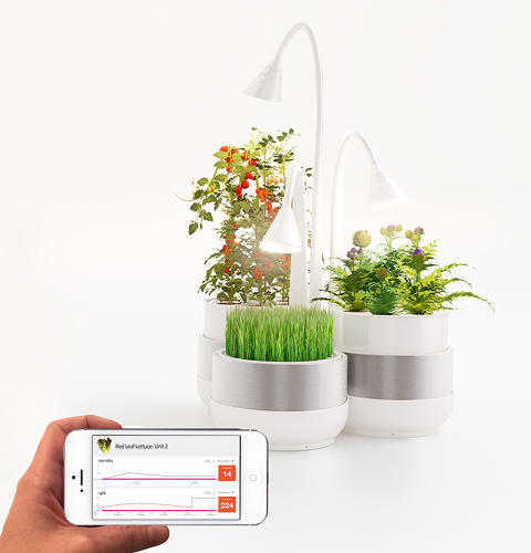<p>It's all controlled by a smartphone app, which means you can care for your sensor-equipped plants while you're away from home. It's as simple as tapping a touchscreen.</p>