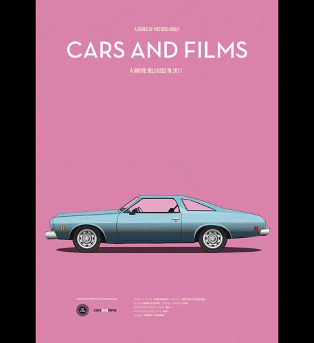 <p>The posters rely on the recognizable vehicles to do the work of words or quotes or titles.</p>