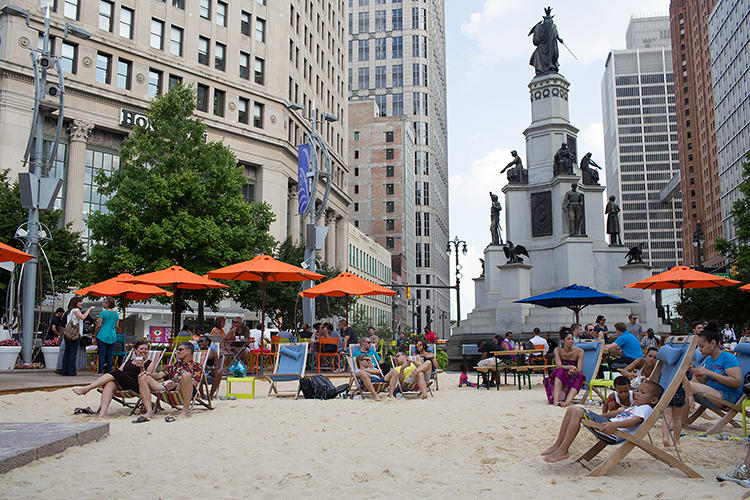 <p>Organizers turned a downtown park into a beach for the summer.</p>