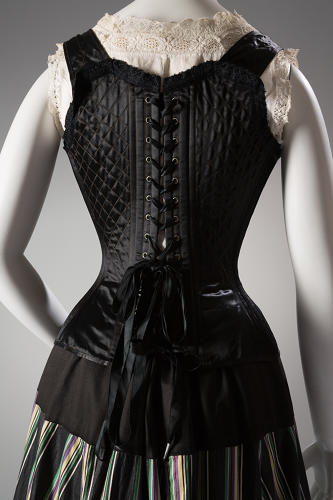 "<p>""Burn up the corsets!"" clothing reform activist Elizabeth Stuart Phelps wrote in 1873. A satin corset by the M.A. Spencer Company, circa 1898.</p>"