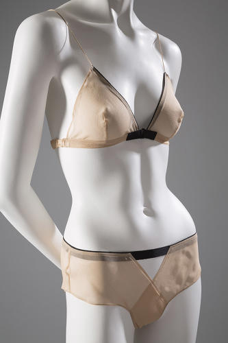 <p>A Jean Yu bra and panty set of silk chiffon and grosgrain ribbon, spring 2005. Attitudinally they're both liberating and feminine--a concept politically of our time.</p>