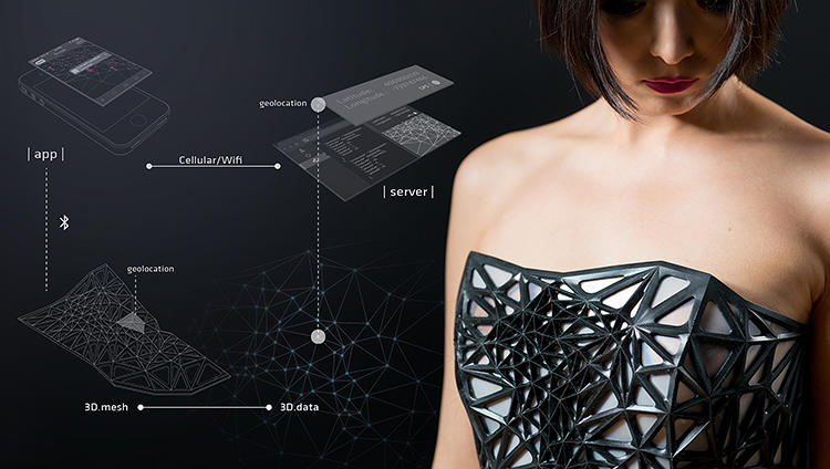 <p>Chen also built an app to mimic the data collecting habits of Facebook or Google, which then activates the garment through Bluetooth and an Arduino platform.</p>