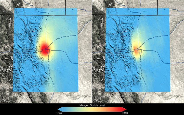 <p>Denver has seen a 22 percent decrease in nitrogen dioxide. Higher concentrations of the gas are visualized by infection-like splotches of orange and red.</p>