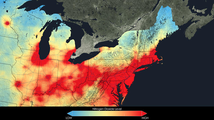 <p>The Northeast in 2005. About 142 million people still lived in areas in the United States with unhealthy levels of air pollution, according to the EPA.</p>