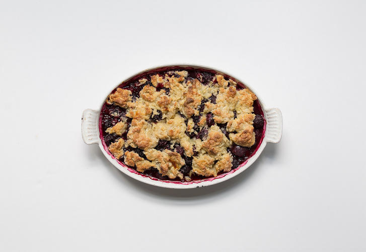 <p>Blackberry-Cherry Cobbler with Honey Whipped Cream</p>