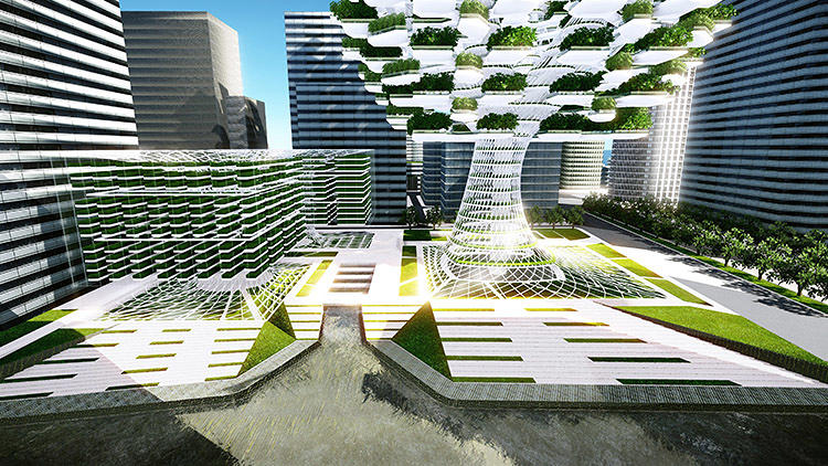 <p>&quot;Our version of the vertical farm was intended to become an independent, open-to-air structure which would be purely focusing on farming activities and sustainable functions such as generating renewable energy and performing air, and water filtration,&quot; say architects Steve Lee and See Yoon Park.</p>