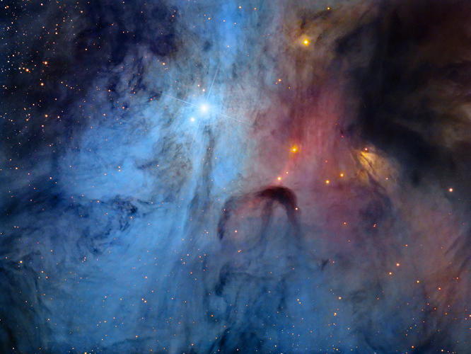 <p>The rarely imaged core of the multiple star system, Rho Ophiuchi. A deep exposure showcases the whirling clouds, in an area the human eye would struggle to see much detail, even with the use of a telescope.</p>